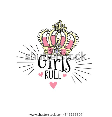 girls rule  typographic print