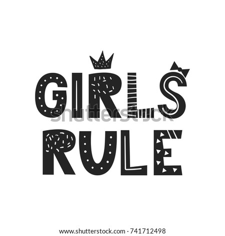 girls rule   unique hand drawn