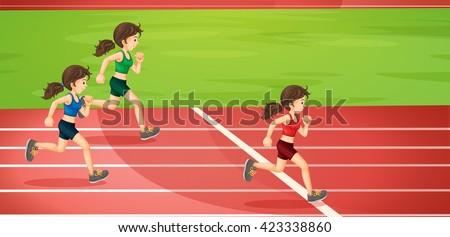 Girls running in the tracks illustration