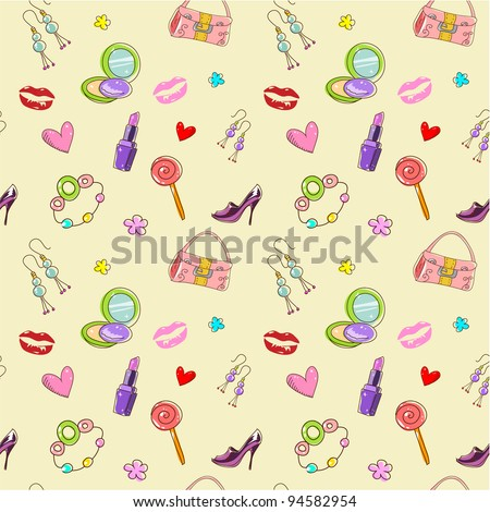 Girls seamless texture with fashion acessories, shoes, bag and lipstick