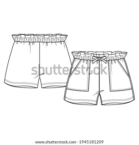 Girls Short fashion flat sketch template. Technical Fashion Illustration. Paperbag elastic waist. Front Bow and Apply Pocket