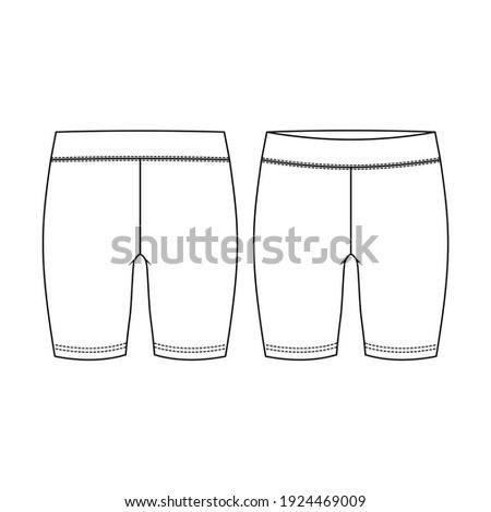 Girls Short Legging fashion flat sketch template. Women Active wear Biker Short Technical Fashion Illustration Сток-фото ©
