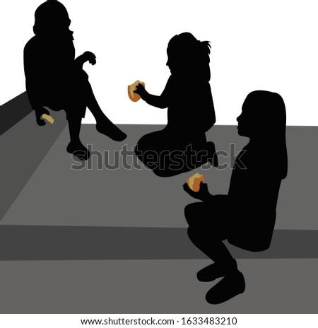 girls sitting at stairs  eating