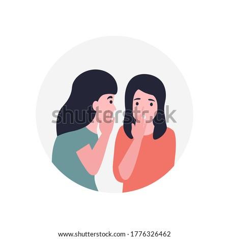 Girls spread rumors. Gossip women. Girlfriend whispering a secret in her friends ear. Flat vector cartoon modern illustration. Photo stock ©
