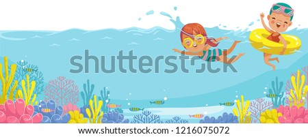 Girls swimming. Swimmers leisure activities in the sea. Underwater view on the water of the underwater coral. Billboard or branner design  for web pages, Business of tourism publications, traveling.