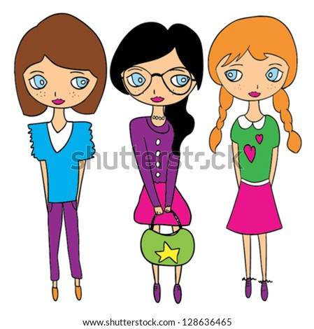 Girls / T-shirt graphics / cute cartoon characters / cute graphics for kids / Book illustrations / textile graphic