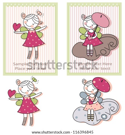 Girls with angel wings on clouds on greeting cards