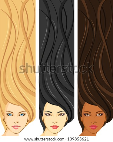 Girls with beautiful hair. Vertical banners with young European, Asian, African women
