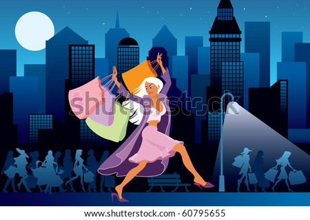 Girls with shopping bags, city at night in the background