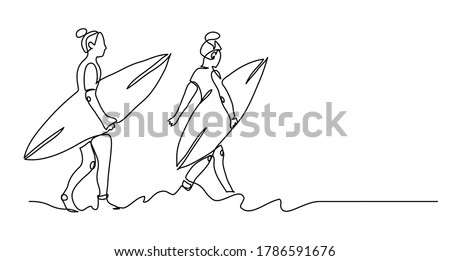 Girls with surfing boards. Surfing surfer international day banner. Black and white vector background, simple illustration. One continuous line drawing of surfer girls. Сток-фото ©