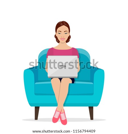 stock-vector-girls-working-at-home-young-woman-sitting-on-a-chair-and-using-laptop-freelance-self-employed