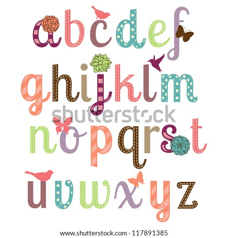 Girly Alphabet Fonts Girly Alphabet Vector Set