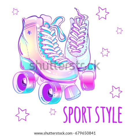 Girly beautiful high-detailed rollers. Vector illustration in pink pastel colors. Sport style design.