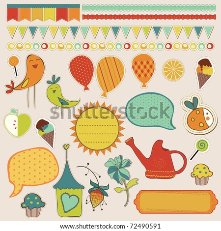 stock vector : Girly design elements for scrapbooking