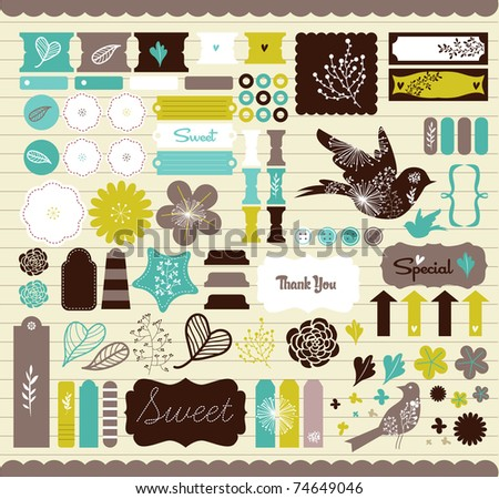 Girly design elements for scrapbooking - stock vector