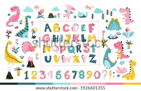 Girly Dino collection with alphabet and numbers. Funny comic font in simple hand drawn cartoon style. A variety of childish girls dinosaurs characters. Colorful isolated doodle in pink palette.