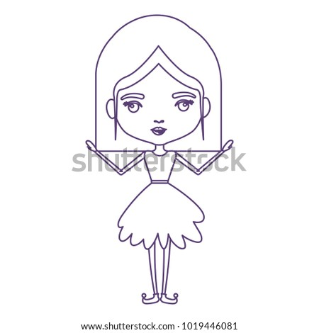 Girly Fairy Without Wings And Mushroom Hairstyle In Purple Contour