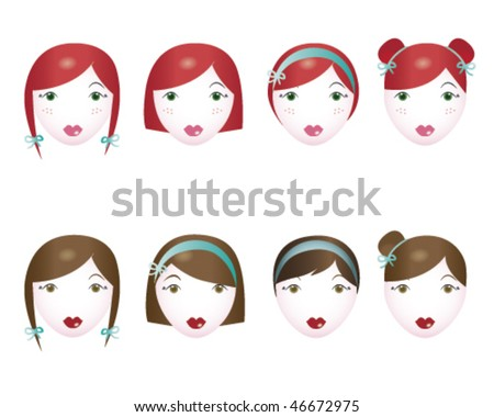 stock vector : Girly hairstyles: collection of 8 female hair cut