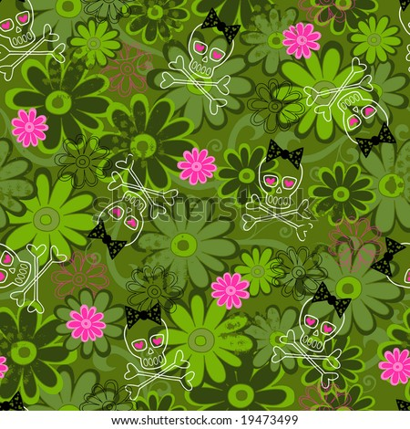 stock vector : Girly Punk Skulls on Flower Camo background Seamless Repeat ...