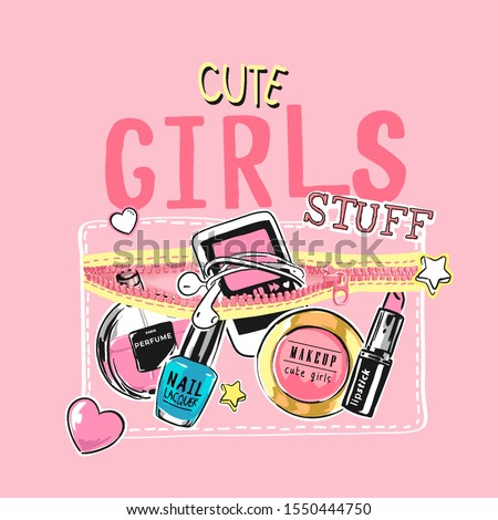girly slogan with cartoon cosmetic and smartphone in pocket illustration