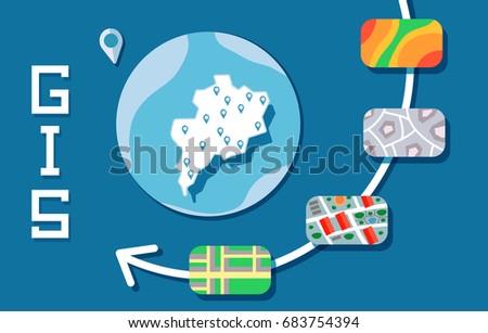 GIS Software Concept, Geographic Information System. Vector illustration on blue background.