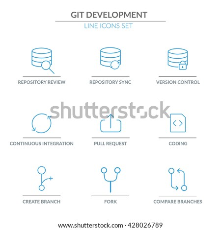 GIT repository  Software Development outline web icon set for agile, scrum, kanban IT teams