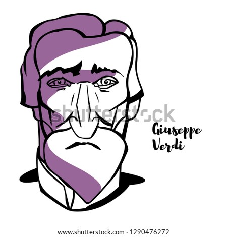 Giuseppe Verdi engraved vector portrait with ink contours. Italian opera composer.