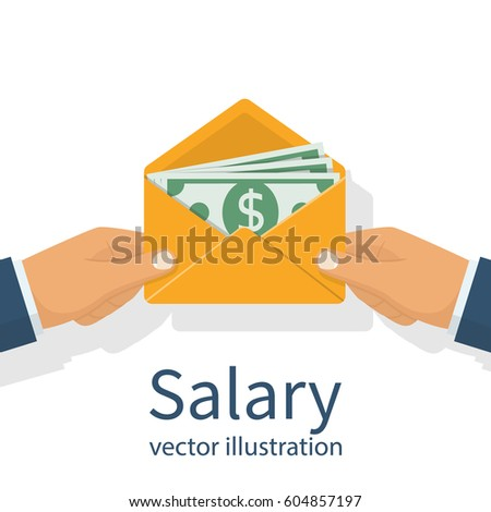 Give a salary. Wages in the envelope. Payout. Businessman holding in hand an envelope with money. Transfer money. Vector illustration flat design. Isolated on white background.