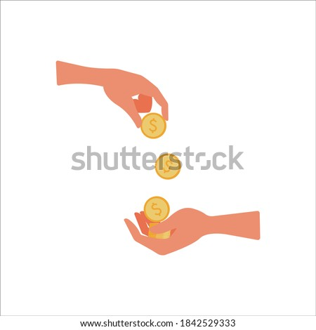 Give money, receive finance. The hand throws coins to the other hand. Concept: help, credit, charity, ransom. Vector illustration, flat cartoon color minimal design isolated on white background, eps. Foto stock ©
