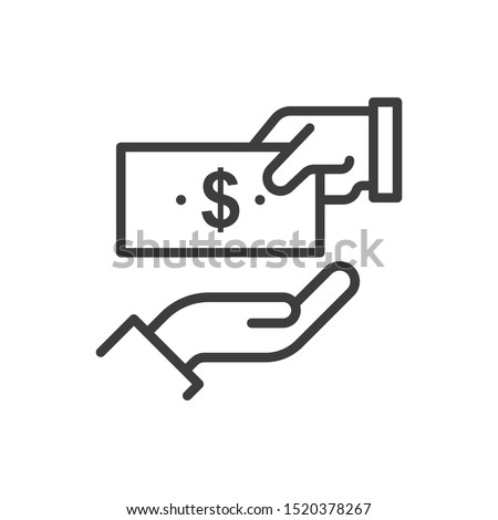 give money vector outline icon. Illustration style EPS 10 file format
