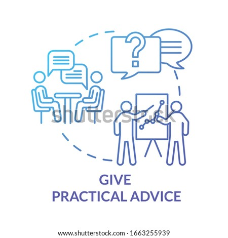 Give practical advice concept icon. Best friend guide and support. Planning solution, solving problem together idea thin line illustration. Vector isolated outline RGB color drawing Stockfoto ©