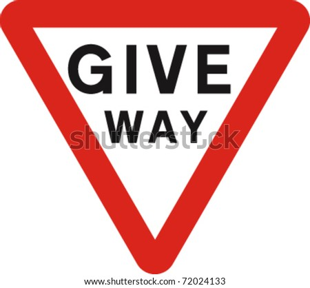 Give way sign in vector