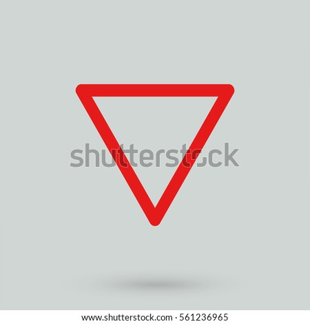 Give way sign isolated on background. Modern flat pictogram, business, marketing, internet concept. Trendy Simple vector symbol for web site design or button to mobile app. Logo illustration