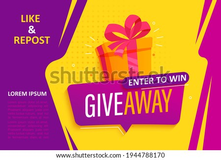 Giveaway banner, calling to repost if like. Enter to win web banner with gift box with prize to winner. Template design for social media posts, flyer. Offer reward in contest, vector illustration.