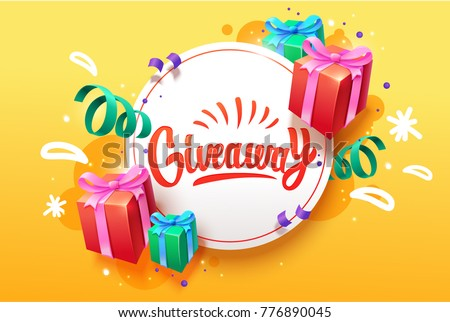 Giveaway banner for social media contests and special offer. Vector  brush lettering at golden background. Modern calligraphy style.