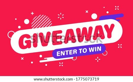 Giveaway banner. Post template. Win a prize giveaway. Social media poster. Vector design illustration.