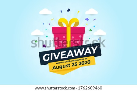 Giveaway Banner Template Design For Social Media Post. Gift Offer Banner, Giveaways Post And Winner Reward In Contest, Prize In Boxes. Vector Illustration Stockfoto ©