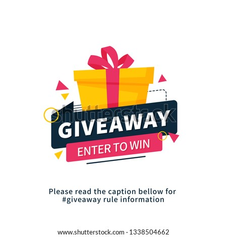 Giveaway enter to win poster template design for social media post or website banner. Gift box vector illustration with modern typography text style.