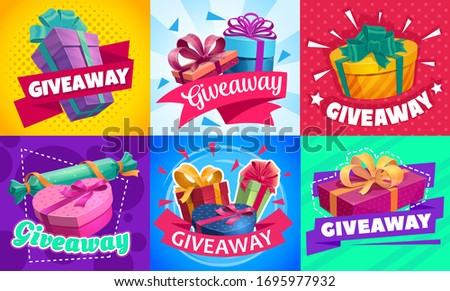 Giveaway gift boxes, promotion contest and competition free prizes, vector posters. Holidays and shopping giveaway gifts promo for wedding, Valentine day and Christmas