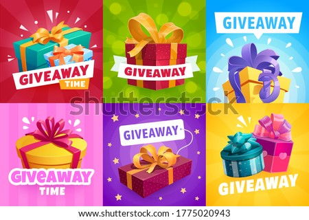 Giveaway gifts, competition winner prize, vector contest banner design. Giveaway free prize, presents and gift boxes with ribbons, quiz and social promo award, golden stars pattern background
