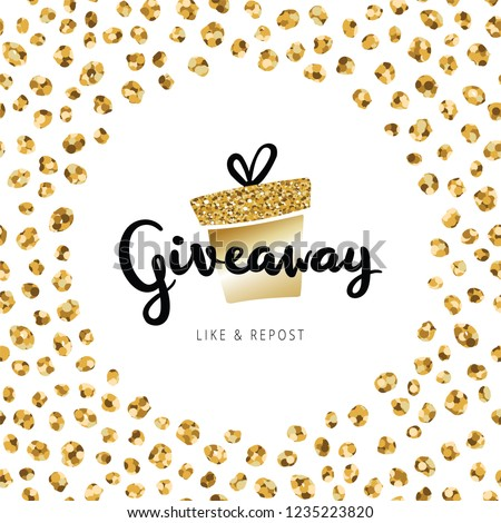 """Giveaway lettering text on banner banner Christmas card. Golden gift box with calligraphy text """"giveaway"""" in round frame of small gold circles. Confetti banner design for holidays giveaway"""