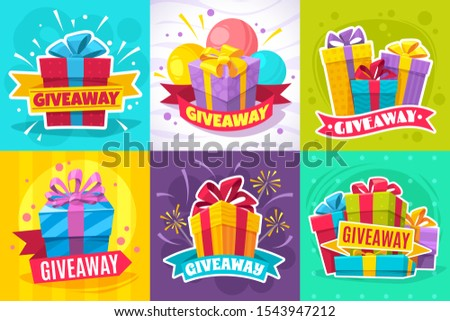 Giveaway post. Give away gift announcement, winner contest reward and christmas prize for social media posts and website vector flyers with square box and ribbon