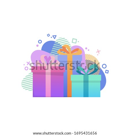 Giveaway poster template. 3 Gift boxes with abstract modern graphic elements on background. Giveaway icon. Special reward concept. Vector illustration