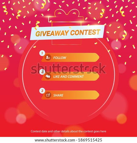Giveaway steps for social media contest design concept Photo stock ©
