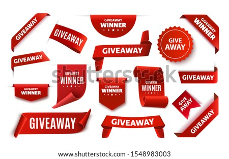 Giveaway tags or labels for social media post. Red announcement 3d banners. Vector giveaway contest ribbons.