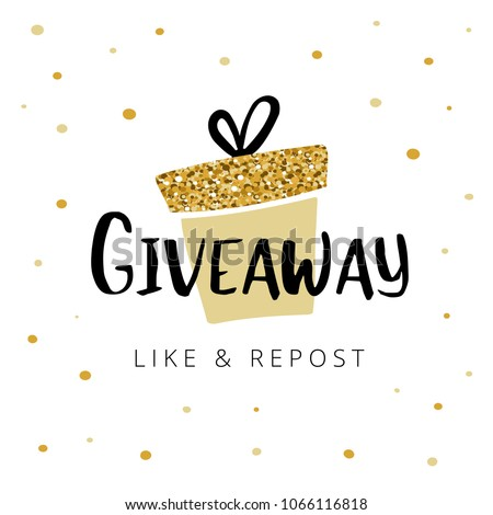 "Giveaway vector illustration for promotion in social network. Advertizing of giving present fo like or repost. Decoration banner for business account.   Text ""Giveaway"" written by lettering font."