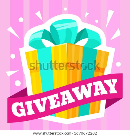 Giveaway winner gift. Pursuit of profitable purchase. Giveaways post gift, winner reward banner, quiz posters, way of promotion, advertising to attract customers in social media posts, bloggers vector