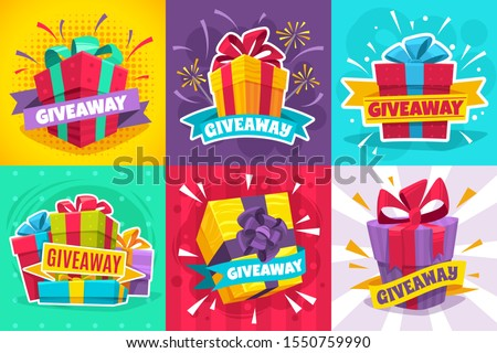 Giveaway winner poster. Gift offer banner, giveaways post and winner reward in contest, prize in boxes with ribbons flyer design vector give away game typography template set
