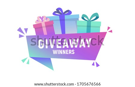 Giveaway winners. Colorful present boxes with banner. Gift box banner template for shopping, giveaway, birthday, party, sale banners and posters. Celebration boxes. Trendy design. Vector illustration