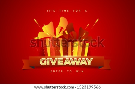 Giveaway winners poster template design. Gift box vector illustration with modern typography text style. can use for, landing page, template, ui, web, mobile app, poster, banner,